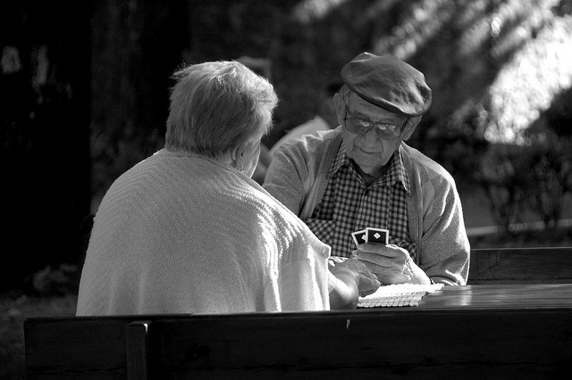 Elderly Couple Playing Cards - By Antonio Trogu