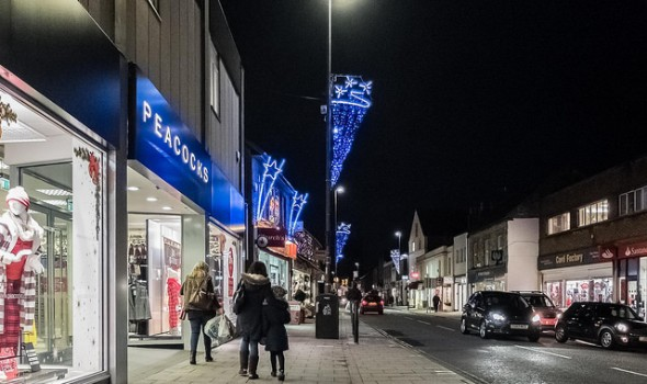 Night Shot of Keynsham High Street, December 2014 - Photo by velodenz @ Flickr