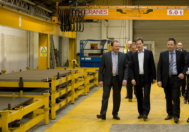 Deputy Prime Minister NIck Clegg met staff and apprentices at The Cartwright Group, to announce that 300 Greater Manchester jobs will be created there thanks to investment from the Government's Regional Growth Fund. Crown copyright.