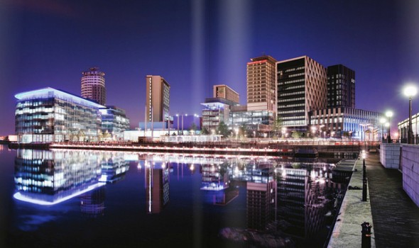 Duncan Hull - MediaCityUK at night, Salford Quays, Manchester