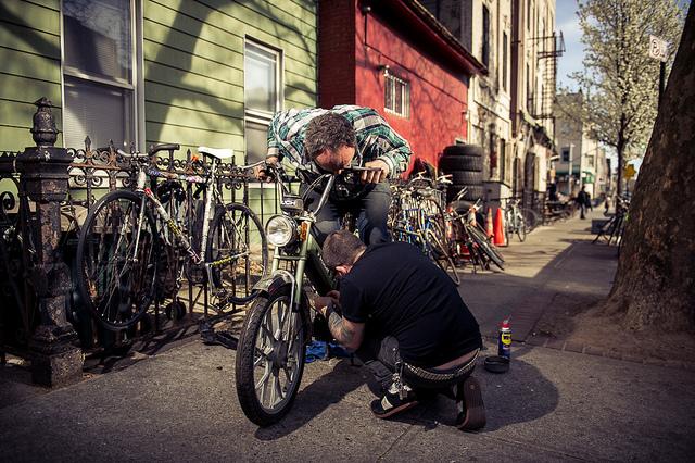 Repairing a motorbike